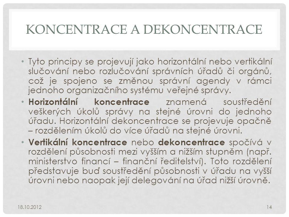 KONCENTRACE A DEKONCENTRACE • Tyto principy se projevují jako horizontální nebo vertikální slučování nebo rozlučování správních úřadů či orgánů, což j