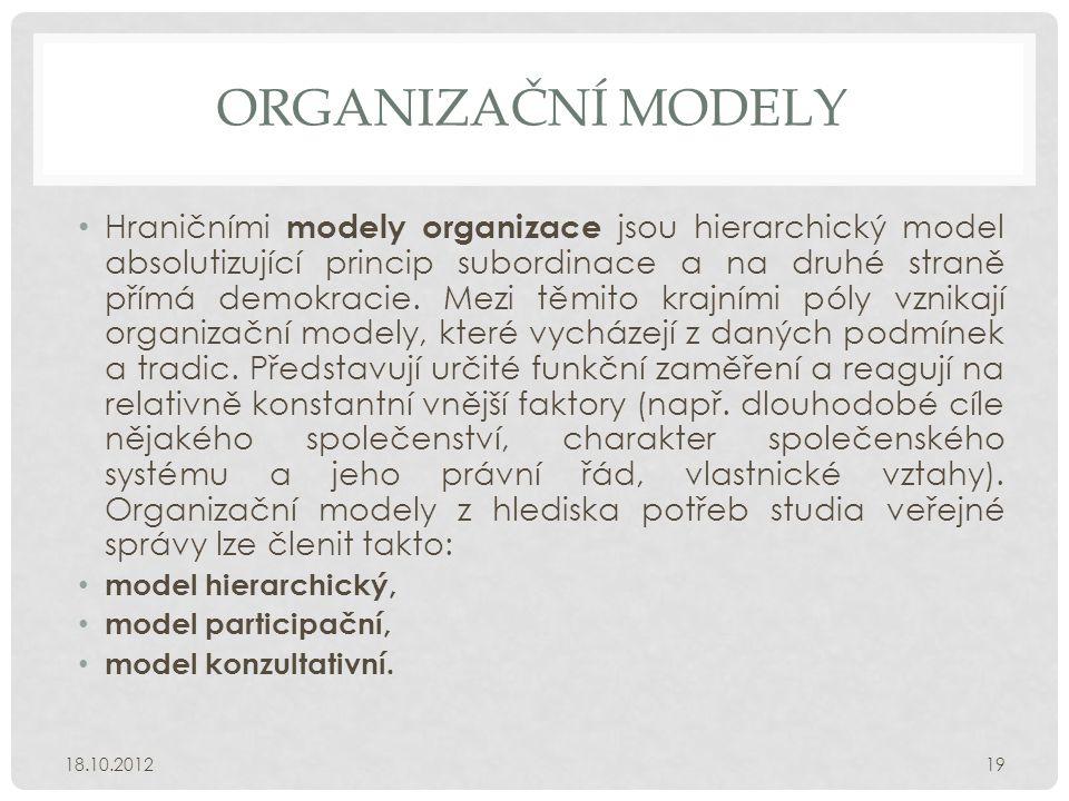 ORGANIZAČNÍ MODELY • Hraničními modely organizace jsou hierarchický model absolutizující princip subordinace a na druhé straně přímá demokracie. Mezi