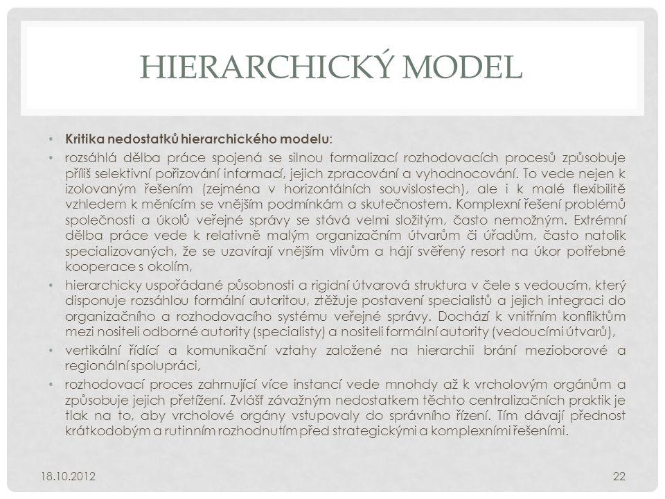 HIERARCHICKÝ MODEL • Kritika nedostatků hierarchického modelu : • rozsáhlá dělba práce spojená se silnou formalizací rozhodovacích procesů způsobuje p