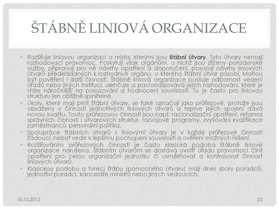 ŠTÁBNĚ LINIOVÁ ORGANIZACE • Rozšiřuje liniovou organizaci o místa, kterými jsou štábní útvary. Tyto útvary nemají rozhodovací pravomoc. Poskytují však