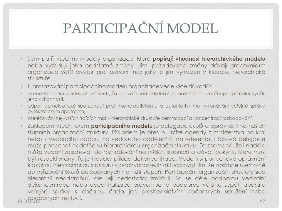PARTICIPAČNÍ MODEL • Sem patří všechny modely organizace, které popírají vhodnost hierarchického modelu nebo vyžadují jeho podstatné změny. Jimi požad