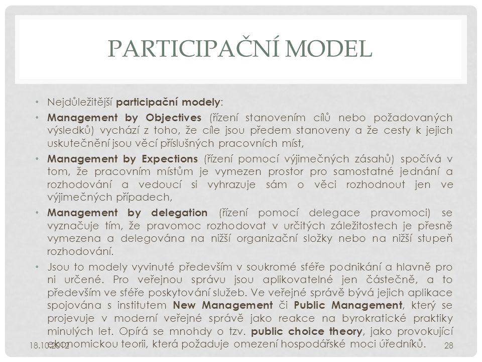 PARTICIPAČNÍ MODEL • Nejdůležitější participační modely : • Management by Objectives (řízení stanovením cílů nebo požadovaných výsledků) vychází z toh