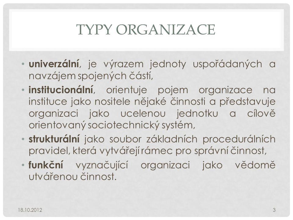 TYPY ORGANIZACE • univerzální, je výrazem jednoty uspořádaných a navzájem spojených částí, • institucionální, orientuje pojem organizace na instituce