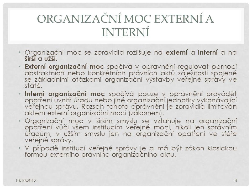 ORGANIZAČNÍ MOC EXTERNÍ A INTERNÍ • Organizační moc se zpravidla rozlišuje na externí a interní a na širší a užší. • Externí organizační moc spočívá v