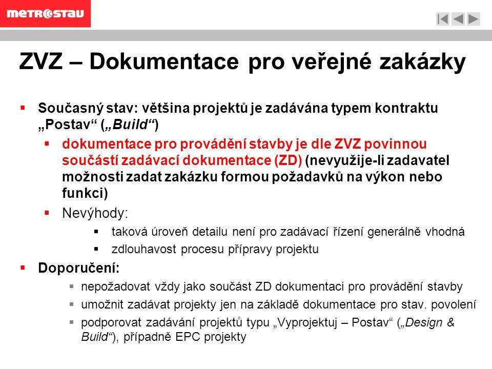 """ZVZ – Dokumentace pro veřejné zakázky  Současný stav: většina projektů je zadávána typem kontraktu """"Postav (""""Build )  dokumentace pro provádění stavby je dle ZVZ povinnou součástí zadávací dokumentace (ZD) (nevyužije-li zadavatel možnosti zadat zakázku formou požadavků na výkon nebo funkci)  Nevýhody:  taková úroveň detailu není pro zadávací řízení generálně vhodná  zdlouhavost procesu přípravy projektu  Doporučení:  nepožadovat vždy jako součást ZD dokumentaci pro provádění stavby  umožnit zadávat projekty jen na základě dokumentace pro stav."""