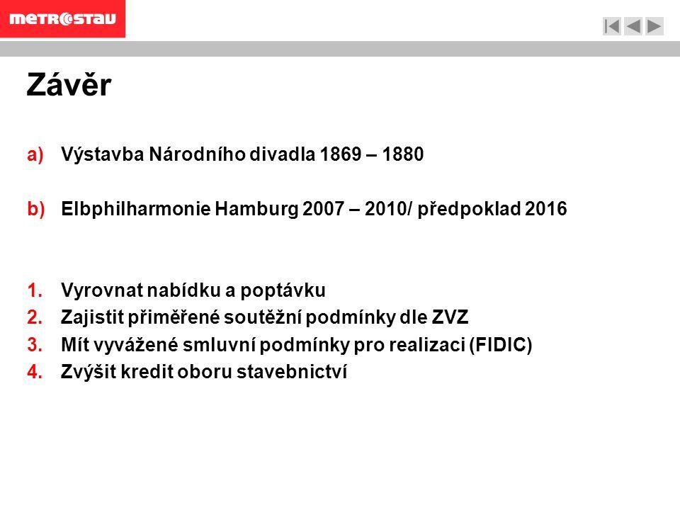 Závěr a)Výstavba Národního divadla 1869 – 1880 b)Elbphilharmonie Hamburg 2007 – 2010/ předpoklad 2016 1.Vyrovnat nabídku a poptávku 2.Zajistit přiměřené soutěžní podmínky dle ZVZ 3.Mít vyvážené smluvní podmínky pro realizaci (FIDIC) 4.Zvýšit kredit oboru stavebnictví