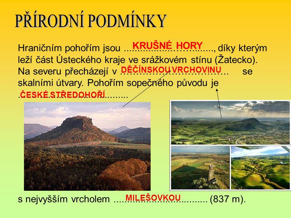 Hraničním pohořím jsou..................……........, díky kterým leží část Ústeckého kraje ve srážkovém stínu (Žatecko). Na severu přecházejí v …………………