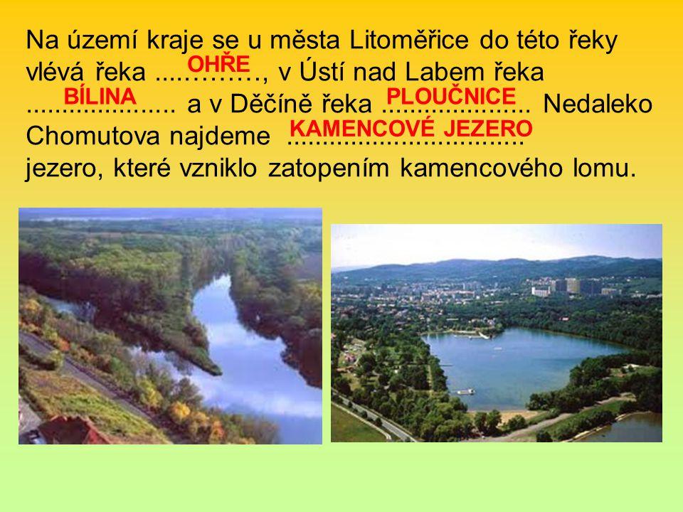 Na území kraje se u města Litoměřice do této řeky vlévá řeka....………, v Ústí nad Labem řeka..................... a v Děčíně řeka..................... N