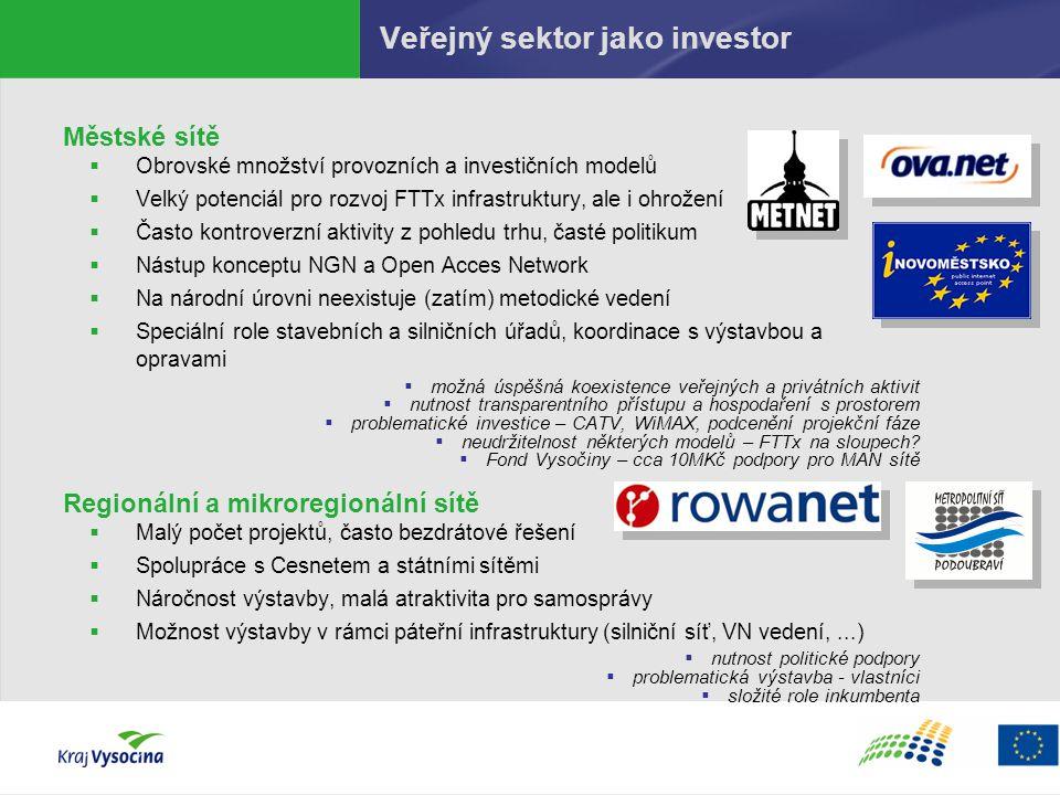 Veřejný sektor jako investor Městské sítě  Obrovské množství provozních a investičních modelů  Velký potenciál pro rozvoj FTTx infrastruktury, ale i