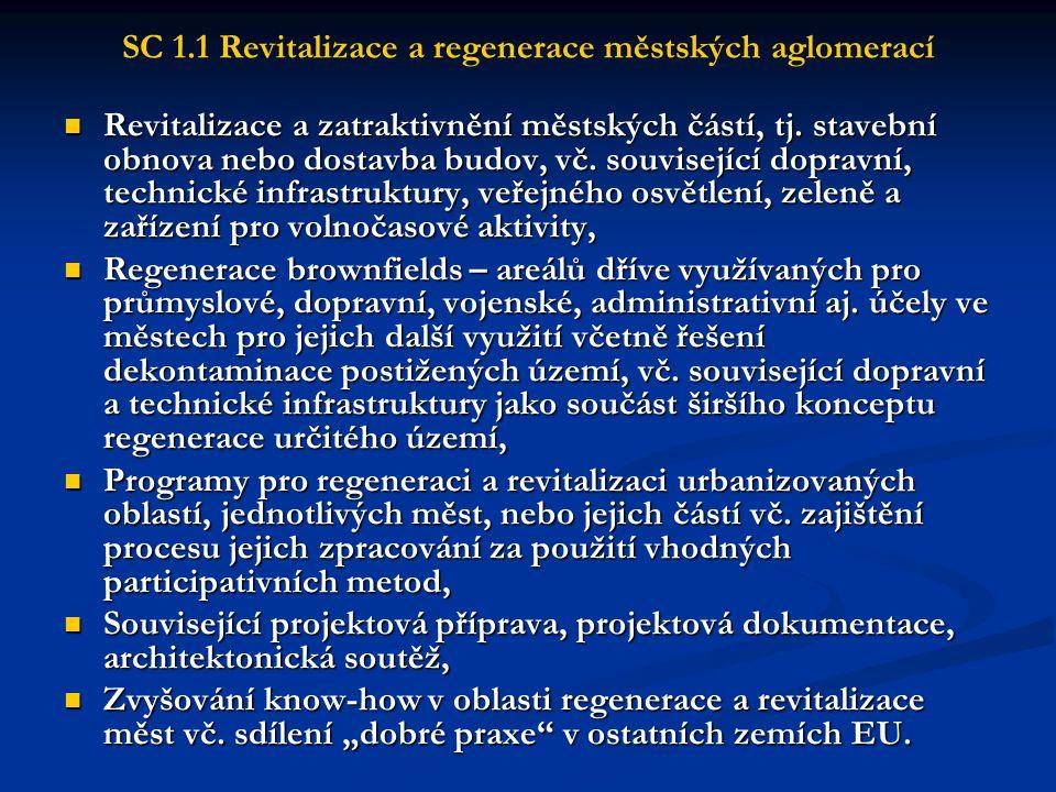SC 4.1 Rozvoj a modernizace infrastruktury pro CR Atraktivity a infrastruktura CR  Obnova, rozvoj, rekonstrukce a úpravy základní a doprovodné infrastruktury pro turistiku (např.