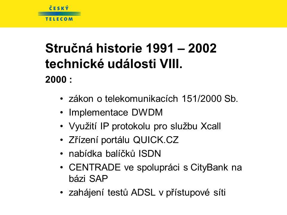 Stručná historie 1991 – 2002 technické události VII. 1999 - zvýšení nabídky datových přenosů •pronajaté okruhy, Frame Relay, ATM •Eurotel - více než 1