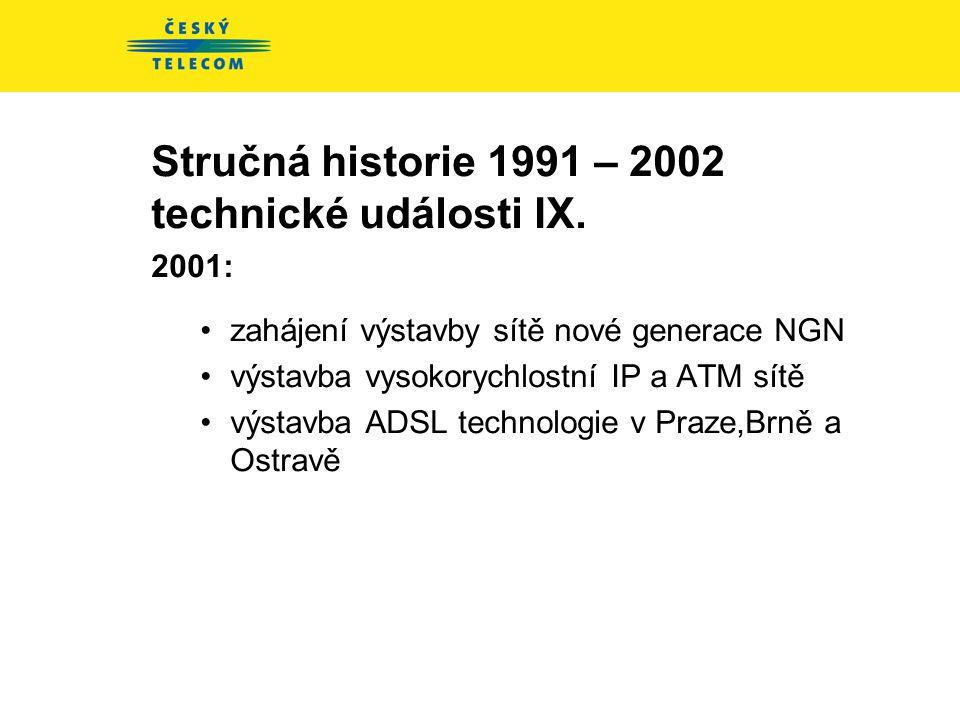 Stručná historie 1991 – 2002 technické události VIII. 2000 : •zákon o telekomunikacích 151/2000 Sb. •Implementace DWDM •Využití IP protokolu pro služb
