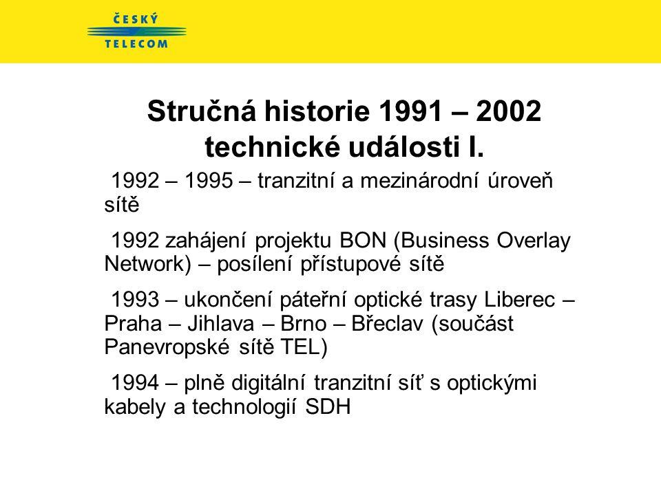 Stručná historie 1991 – 2002 hlavní události 1991: Zahraniční studie modernizace ATLANTIC WEST a DETECON 1992: První telekomunikační projekt – DON - D