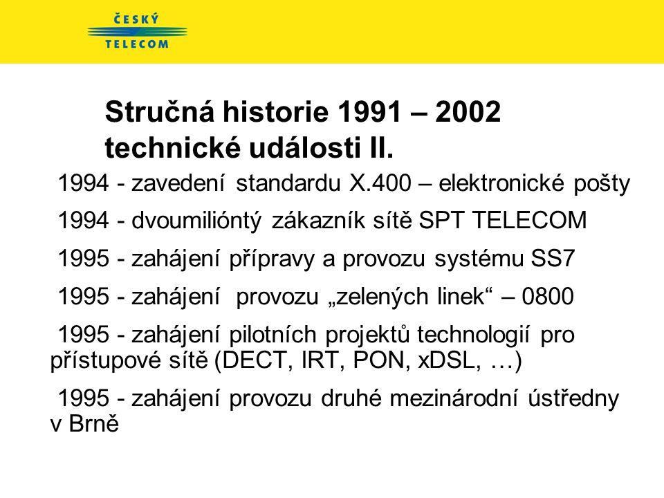 Stručná historie 1991 – 2002 technické události I. 1992 – 1995 – tranzitní a mezinárodní úroveň sítě 1992 zahájení projektu BON (Business Overlay Netw