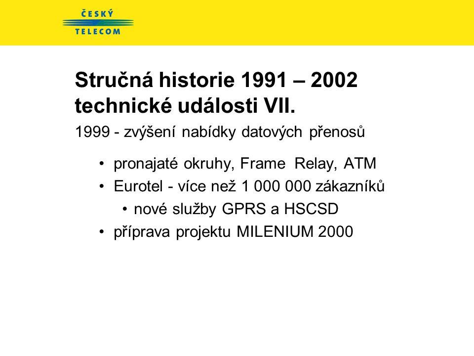 Stručná historie 1991 – 2002 technické události VI. 1998 - poslední investičně náročný rok - 25 mld Kč •52 700 km metalických kabelů •5 600 km optický