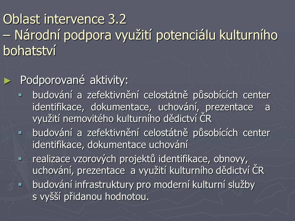 Oblast intervence 3.2 – Národní podpora využití potenciálu kulturního bohatství ► Podporované aktivity:  budování a zefektivnění celostátně působícíc