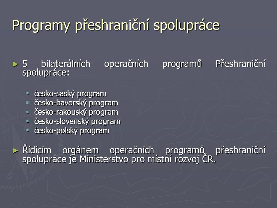 Programy přeshraniční spolupráce ► 5 bilaterálních operačních programů Přeshraniční spolupráce:  česko-saský program  česko-bavorský program  česko