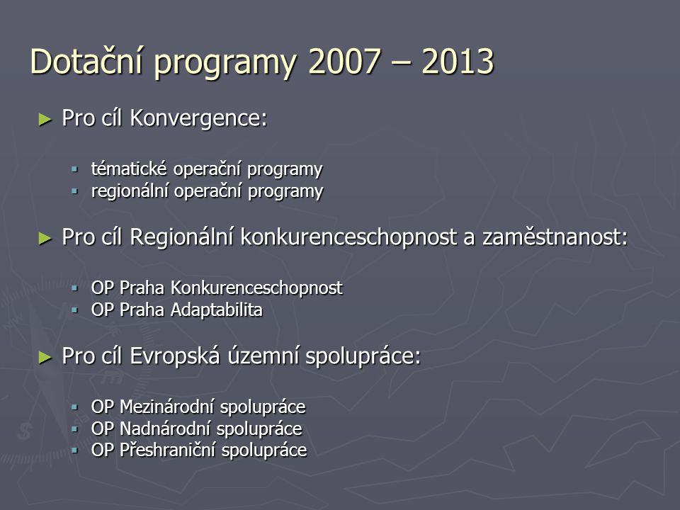 Dotační programy 2007 – 2013 ► Pro cíl Konvergence:  tématické operační programy  regionální operační programy ► Pro cíl Regionální konkurenceschopn