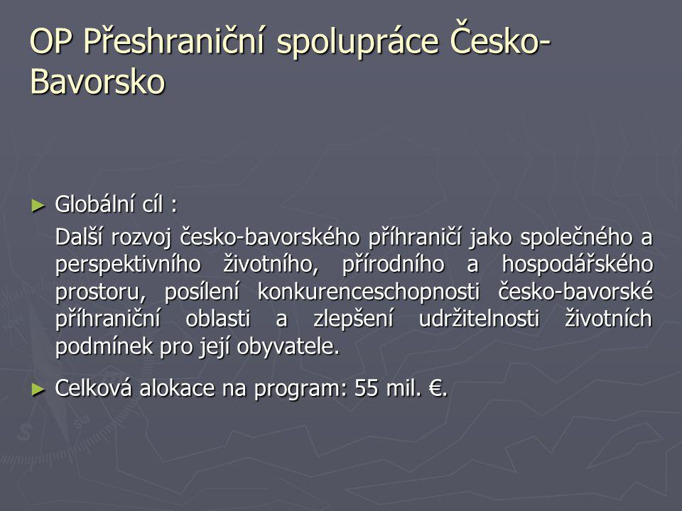 OP Přeshraniční spolupráce Česko- Bavorsko ► Globální cíl : Další rozvoj česko-bavorského příhraničí jako společného a perspektivního životního, příro