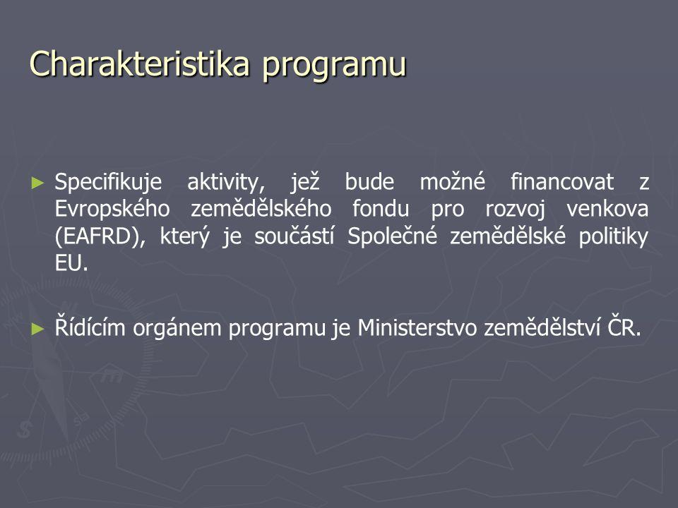 Charakteristika programu ► ► Specifikuje aktivity, jež bude možné financovat z Evropského zemědělského fondu pro rozvoj venkova (EAFRD), který je souč