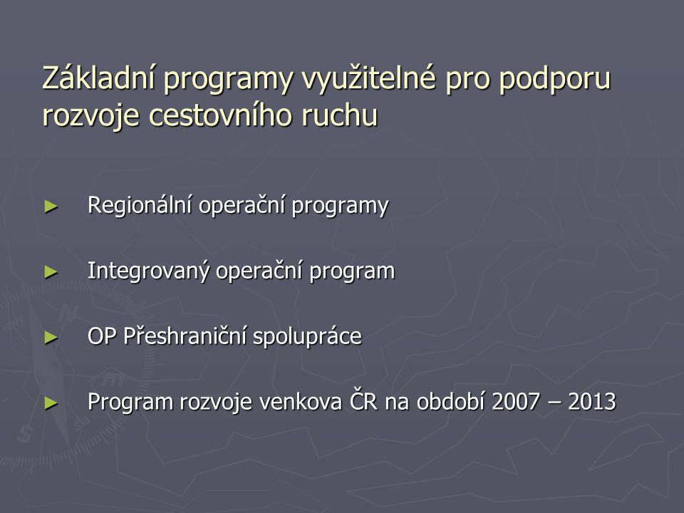 Základní programy využitelné pro podporu rozvoje cestovního ruchu ► Regionální operační programy ► Integrovaný operační program ► OP Přeshraniční spol