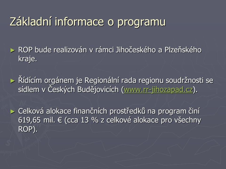 Základní informace o programu ► ROP bude realizován v rámci Jihočeského a Plzeňského kraje. ► Řídícím orgánem je Regionální rada regionu soudržnosti s