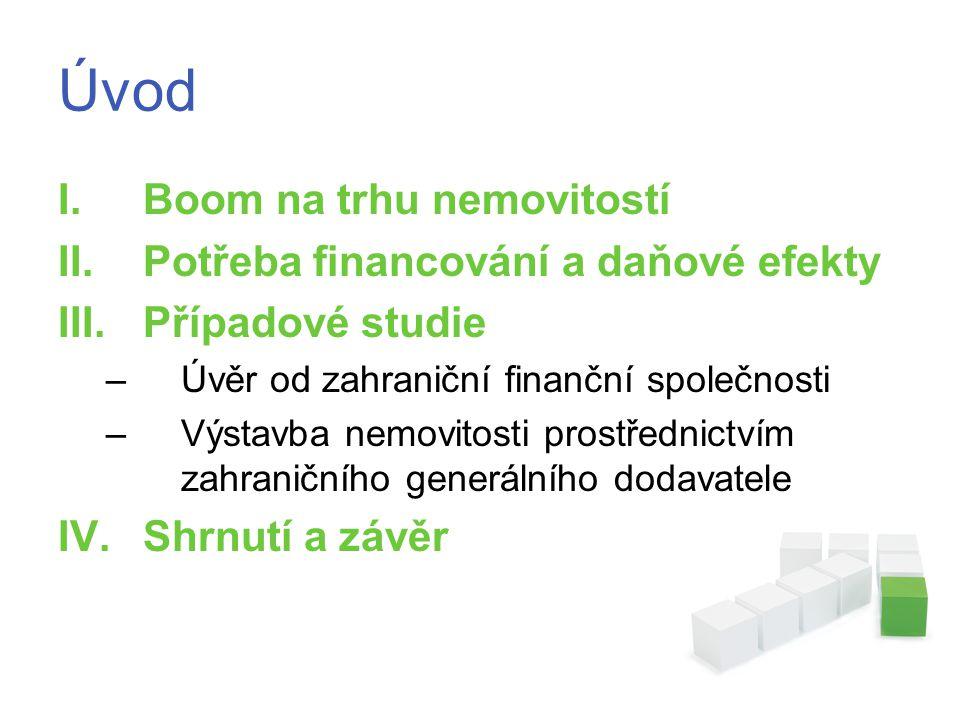 Úvod I.Boom na trhu nemovitostí II.Potřeba financování a daňové efekty III.Případové studie –Úvěr od zahraniční finanční společnosti –Výstavba nemovitosti prostřednictvím zahraničního generálního dodavatele IV.Shrnutí a závěr