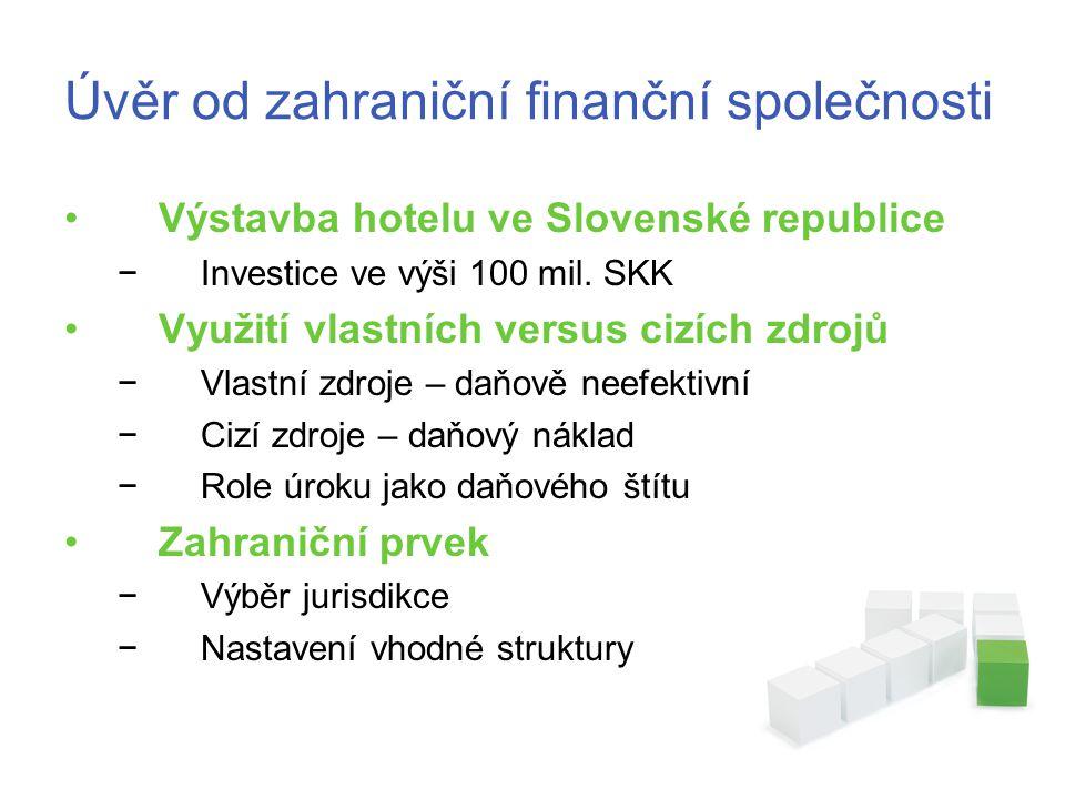 Úvěr od zahraniční finanční společnosti •Výstavba hotelu ve Slovenské republice −Investice ve výši 100 mil.