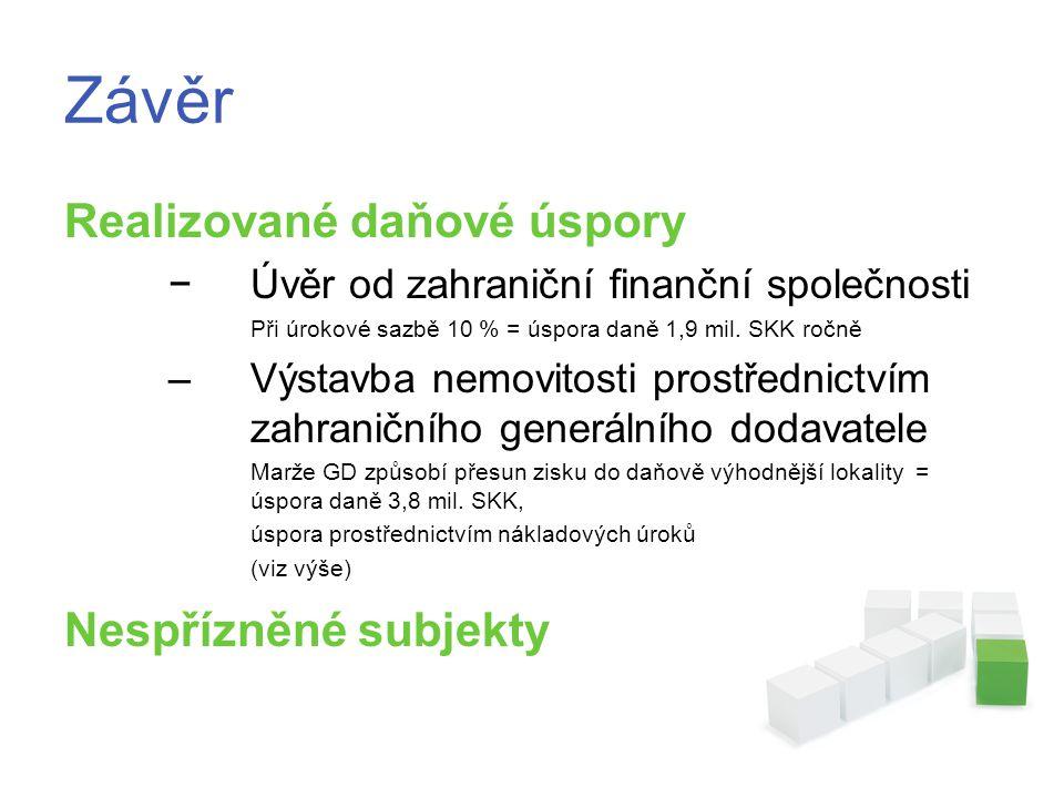 Závěr Realizované daňové úspory −Úvěr od zahraniční finanční společnosti Při úrokové sazbě 10 % = úspora daně 1,9 mil.