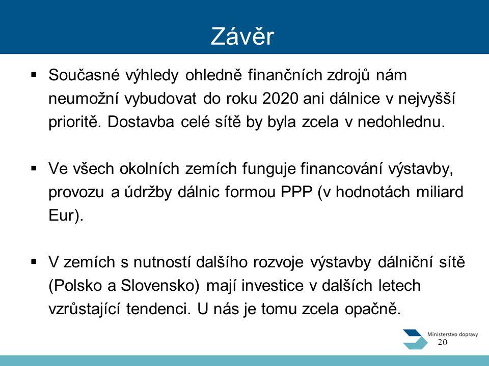 Závěr  Současné výhledy ohledně finančních zdrojů nám neumožní vybudovat do roku 2020 ani dálnice v nejvyšší prioritě. Dostavba celé sítě by byla zce