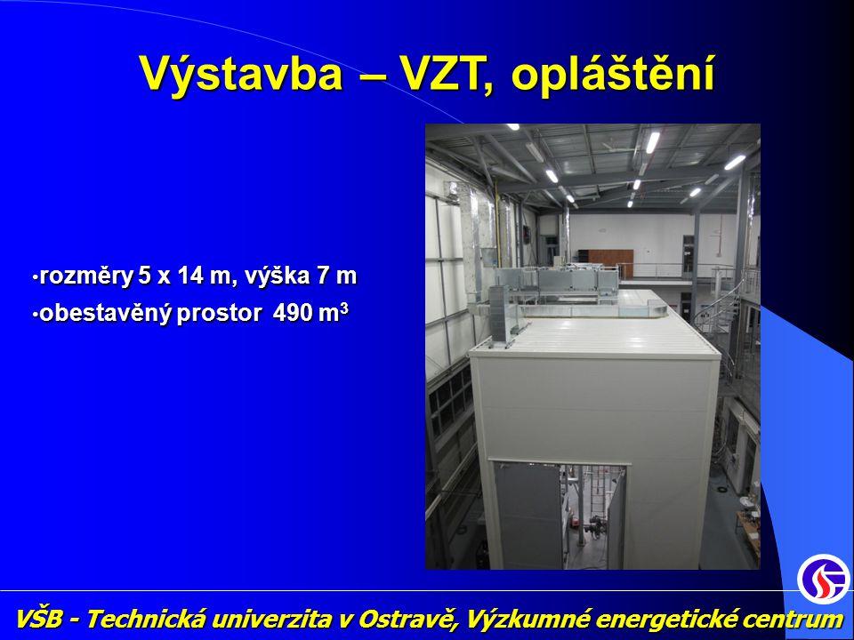 VŠB - Technická univerzita v Ostravě, Výzkumné energetické centrum Výstavba – VZT, opláštění • rozměry 5 x 14 m, výška 7 m • obestavěný prostor 490 m