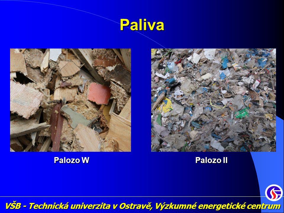 VŠB - Technická univerzita v Ostravě, Výzkumné energetické centrum Palivo Palozo II ParametrHodnota Výhřevnost 19 MJ / kg Vlhkost 15 % Obsah popela 10 % Obsah síry 0,9 % Obsah chlóru 0,5 % • výroba : vytříděné složky KO 40 % průmyslový odpad 60 % průmyslový odpad 60 % • složení : plasty 30 – 80 % plasty 30 – 80 % dřevo 10 – 50 % dřevo 10 – 50 % textil 0 – 30 % textil 0 – 30 % papír 0 – 30 % papír 0 – 30 %