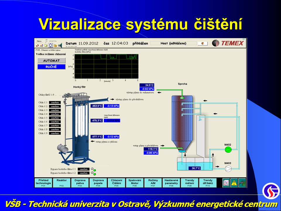 VŠB - Technická univerzita v Ostravě, Výzkumné energetické centrum Vizualizace systému čištění