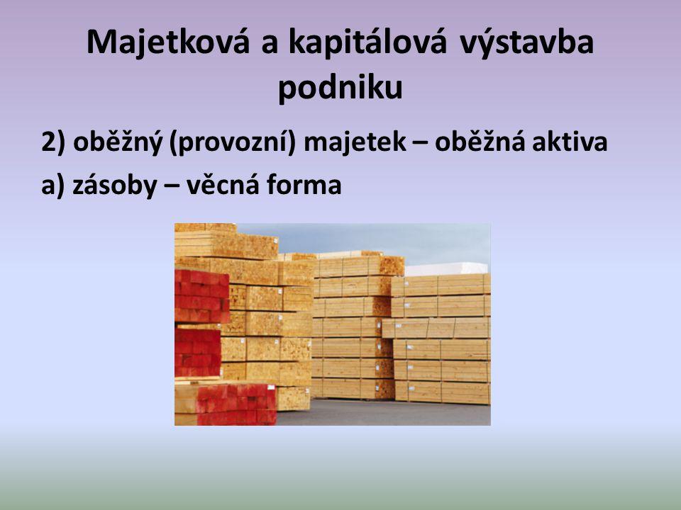 Majetková a kapitálová výstavba podniku 2) oběžný (provozní) majetek – oběžná aktiva a) zásoby – věcná forma
