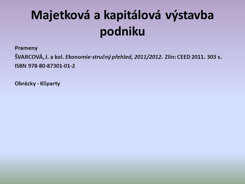 Majetková a kapitálová výstavba podniku Prameny ŠVARCOVÁ, J.