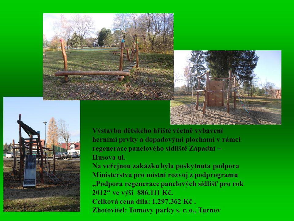 Výstavba dětského hřiště včetně vybavení herními prvky a dopadovými plochami v rámci regenerace panelového sídliště Západní – Husova ul. Na veřejnou z