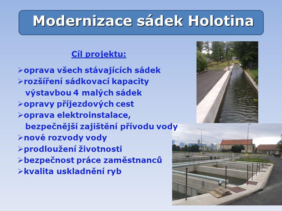 Modernizace sádek Holotina Cíl projektu:  oprava všech stávajících sádek  rozšíření sádkovací kapacity výstavbou 4 malých sádek  opravy příjezdovýc