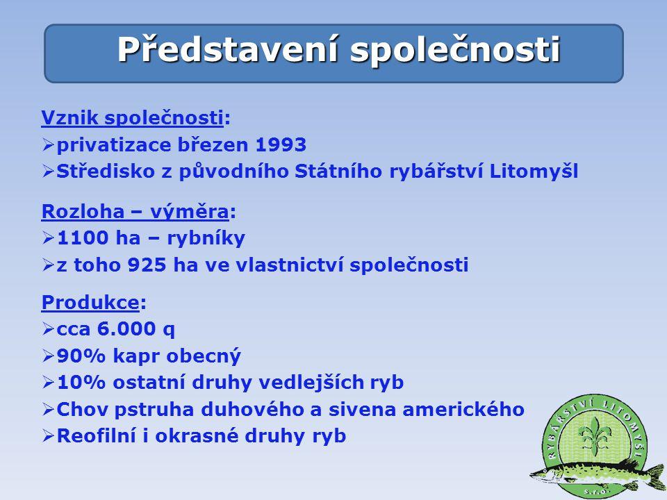 Vznik společnosti:  privatizace březen 1993  Středisko z původního Státního rybářství Litomyšl Rozloha – výměra:  1100 ha – rybníky  z toho 925 ha