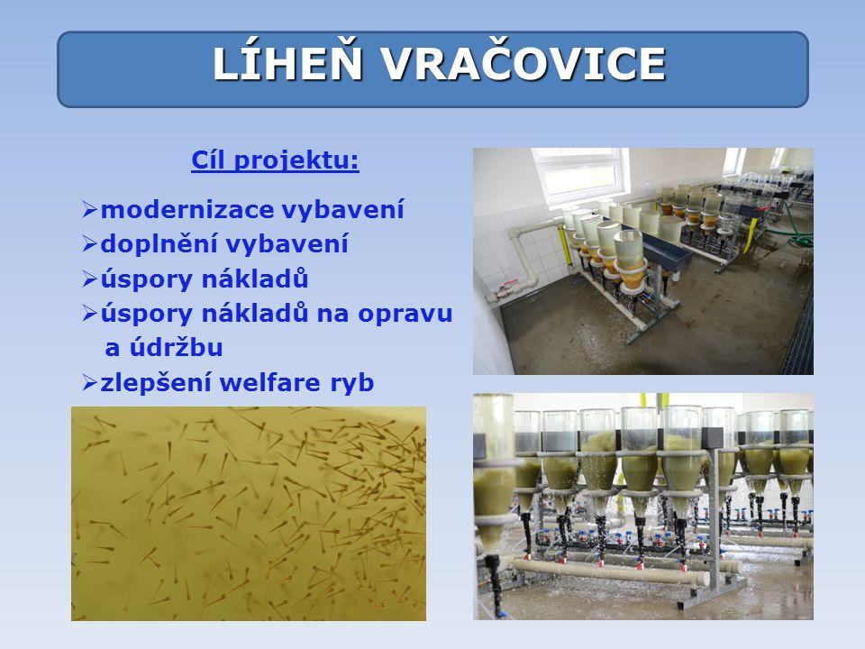 Cíl projektu:  modernizace vybavení  doplnění vybavení  úspory nákladů  úspory nákladů na opravu a údržbu  zlepšení welfare ryb LÍHEŇ VRAČOVICE