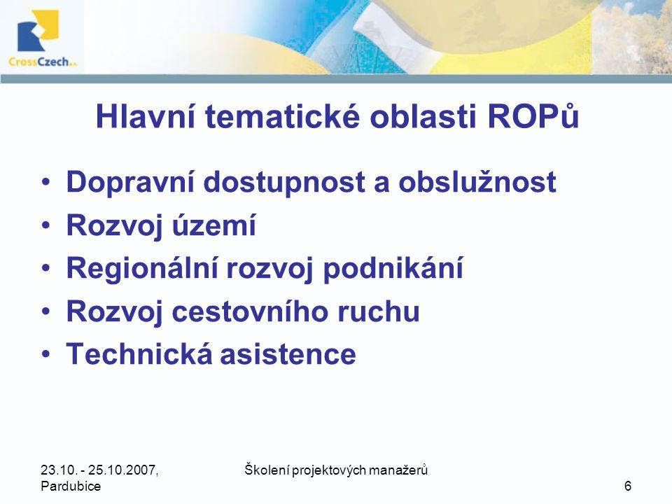23.10.- 25.10.2007, Pardubice Školení projektových manažerů 7 ROP Střední Čechy •559,08 mil.