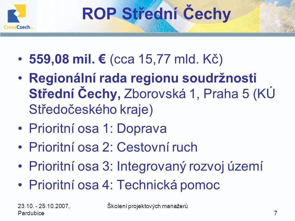 23.10.- 25.10.2007, Pardubice Školení projektových manažerů 28 ROP Severovýchod •656,46 mil.