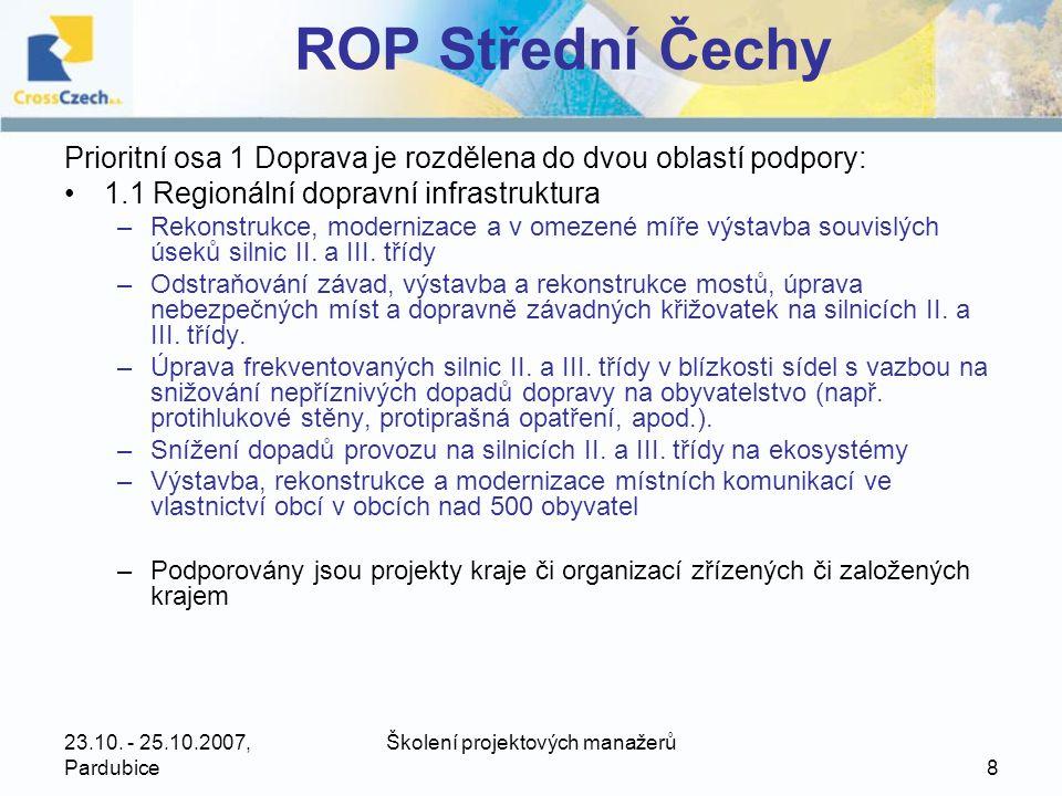 23.10.- 25.10.2007, Pardubice Školení projektových manažerů 39 ROP Severozápad •2.1.