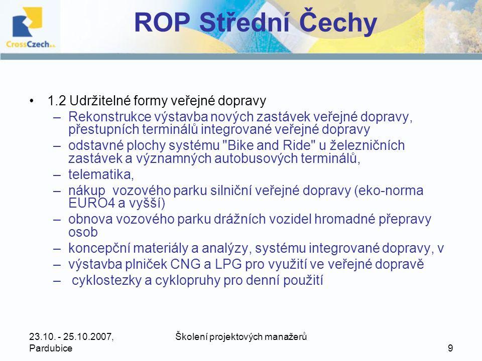 23.10.- 25.10.2007, Pardubice Školení projektových manažerů 20 ROP Jihozápad •619,65 mil.