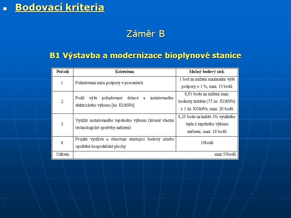  Bodovací kriteria Záměr B B1 Výstavba a modernizace bioplynové stanice
