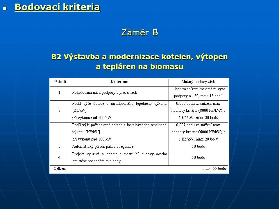  Bodovací kriteria Záměr B B2 Výstavba a modernizace kotelen, výtopen a tepláren na biomasu