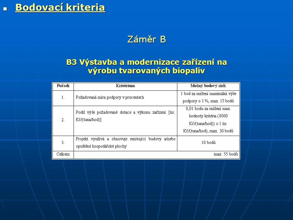  Bodovací kriteria Záměr B B3 Výstavba a modernizace zařízení na výrobu tvarovaných biopaliv