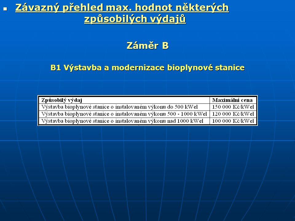  Závazný přehled max. hodnot některých způsobilých výdajů Záměr B B1 Výstavba a modernizace bioplynové stanice