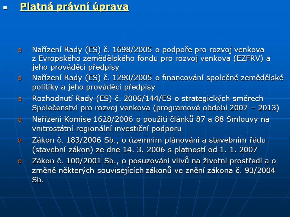  Platná právní úprava oNařízení Rady (ES) č. 1698/2005 o podpoře pro rozvoj venkova z Evropského zemědělského fondu pro rozvoj venkova (EZFRV) a jeho