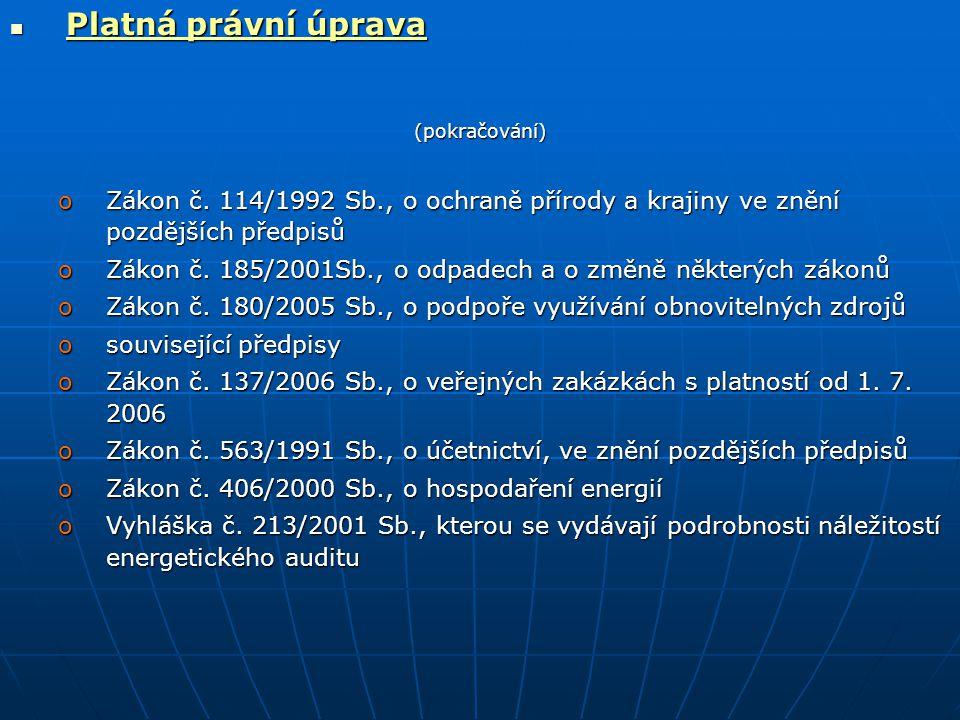  Platná právní úprava (pokračování) oZákon č.