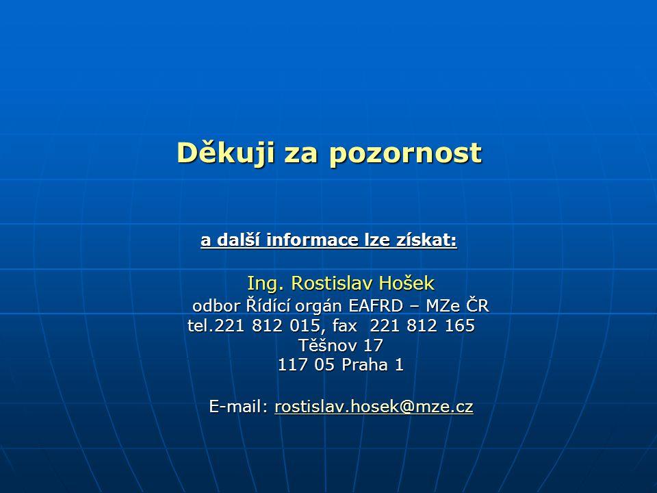 Děkuji za pozornost a další informace lze získat: Ing. Rostislav Hošek odbor Řídící orgán EAFRD – MZe ČR tel.221 812 015, fax 221 812 165 tel.221 812